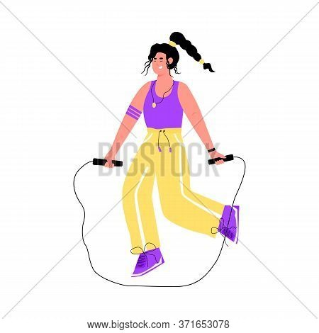 Woman Jumping With Skipping Rope - Fitness Exercise Isolated On White Background. Girl Doing Cardio
