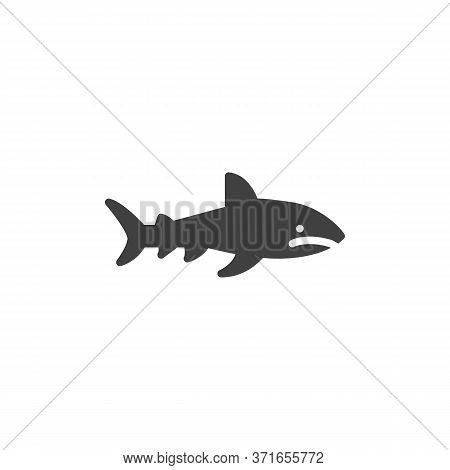 Shark Fish Vector Icon. Filled Flat Sign For Mobile Concept And Web Design. Marine Predator Shark Gl