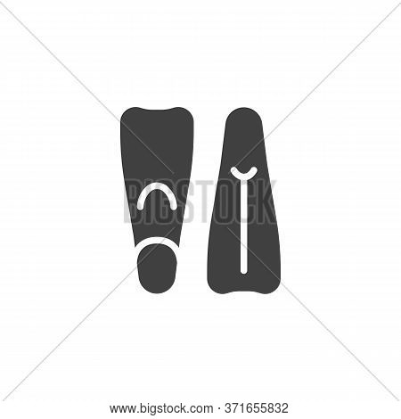 Swimming Flippers Vector Icon. Filled Flat Sign For Mobile Concept And Web Design. Pair Of Diving Fl