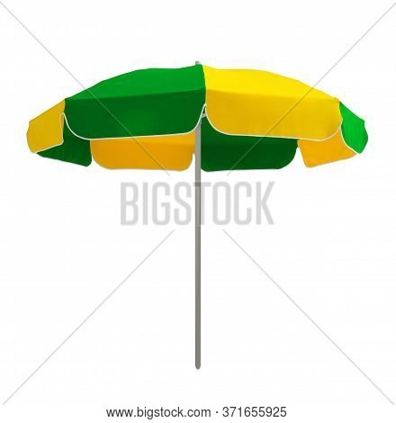 Beach Umbrella Isolated On White. Clipping Path Included.