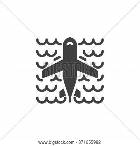 Airplane Flying Over The Ocean Vector Icon. Filled Flat Sign For Mobile Concept And Web Design. Plan