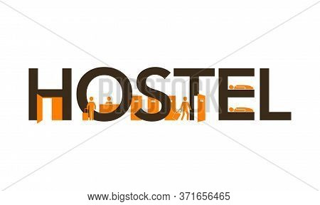Hostel Logo For Reception Signboard  Banner With Creative Decoration - Small Silhouettes Of Receptio