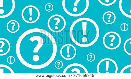 Questions And Answers Background. Seamless Pattern With Question And Exclamation Marks. Education Pa