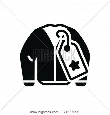 Black Solid Icon For Brandname Brand Name Tag Cloth Jacket Weft