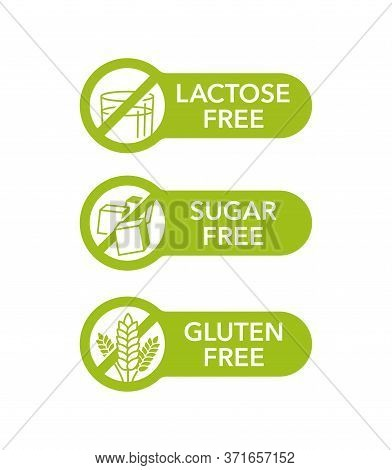 Sugar Free, Gluten Free, Lactose Free - Set Of Vector Attention Badges - Food Cover Decoration Eleme