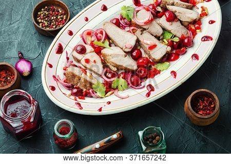 Pork With Cherry Sauce.
