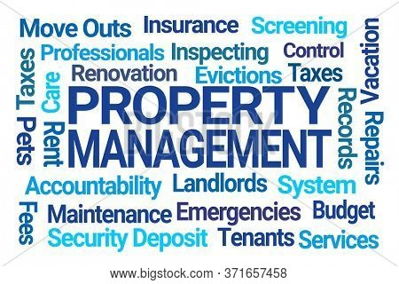 Property Management Word Cloud on White Background