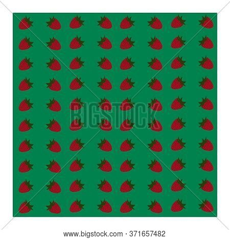 Seamless Pattern With Strawberry Berries, Leaves And Branches On A Bright Green Background. Red Stra