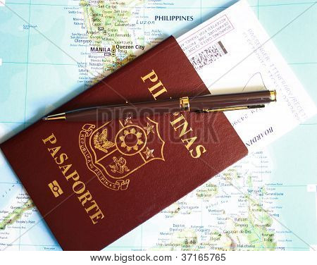 Philippines passport on map background