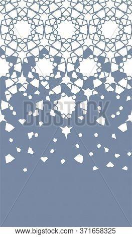 Arabesque Vector Texture, Pattern. Geometric Halftone Arabesque Texture With Color Tile Disintegrati