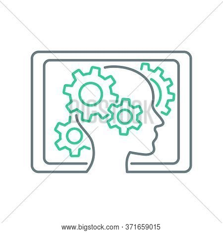 Elearning Technology  - Human Head With Gearbox Inside And Framed With Tablet Shape  - Conceptual Th