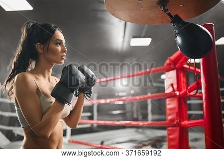 Side View Of Fit Concentrated Brunette Woman Wearing Boxing Gloves. Young Attractive Female Fighter