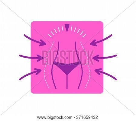 Lose Weight Icon Or Logo - Fat Woman  Body In Dashed Line, Scales And Slim Figure In Main Color - Co