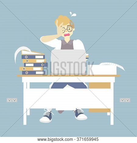 Busy Businessman Working Very Hard, Had A Headache With Laptop Notebook, Flat Character Design Vecto