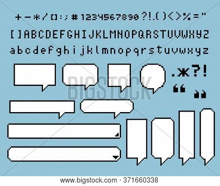Collection Set Of Retro Game 8 Bit Pixel Speech Bubble Balloon, Text Box Banner, Black And White Col