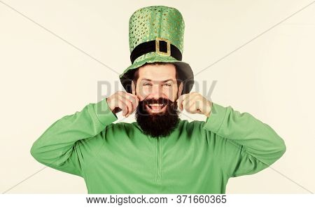 Global Celebration Of Irish Culture. Man Bearded Hipster Wear Green Clothing And Hat Patricks Day. S
