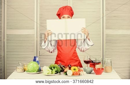 Culinary Concept. Amateur Cook Read Book Recipes. Girl Learn Recipe. Book By Famous Chef. Improve Co