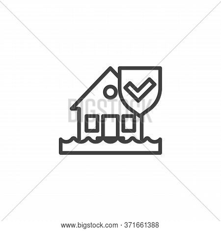 Flood Disaster Insurance Line Icon. House And Protection Shield Linear Style Sign For Mobile Concept