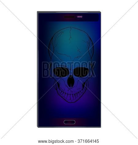 Skull On Screen Isolated On White Background. Hacking Face Recognition Technological System. Virus I