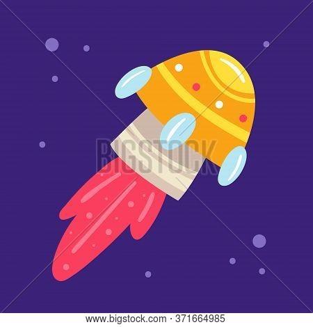 Drone Launch, Rocket, Satellite. Space Vector Hand Drawn Flat Illustration, Element, Sticker, Icon.