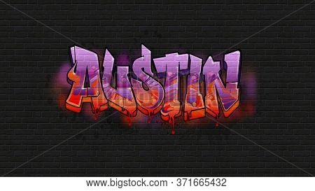 A Cool Graffiti Name Illustration Inspired By Graffiti And Street Art Culture. Vivid Vibrant Colors,
