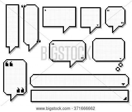 Collection Set Of Retro Game 8 Bit Line Pixel Speech Bubble Balloon Black And White Color With Shado