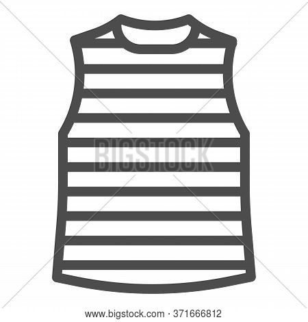 Stripped Vest Line Icon, Summer Clothes Concept, Stripped T-shirt Sign On White Background, Sailor V