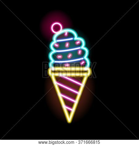 Colorful Neon Glowing Ice Cream Sign Vector Flat Illustration. Bright Sweet Delicious Signboard Isol