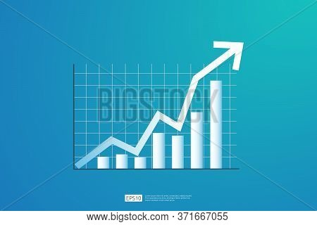 Increase Profit Sales Diagram. Business Chart Growth In Flat Style Design. Increasing Graph Investme