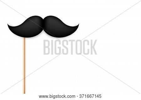 Realistic Fake Mustache On A Stick. Vintage Paper Mustache Isolated On White Background. Vector Illu