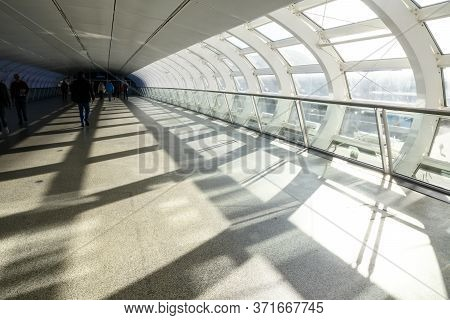Hamburg, Germany, February 05, 2020: Pedestrian Bridge In The Hamburg Exhibition Halls With Attracti