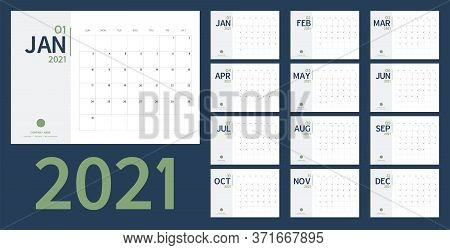 2021 New Year Calendar And Planner Vector In Clean Minimal Table Simple Style And Blue Gold Color,ho