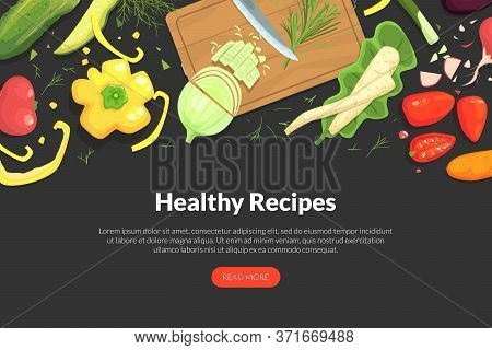 Healthy Recipes Landing Page Template With Organic Vegetarian Natural Products, Tasty Food Recipes,