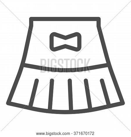 Miniskirt Line Icon, Summer Clothes Concept, Girl Mini Skirt Sign On White Background, Short Skirt W
