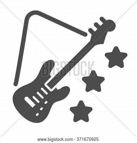 Guitar Solid Icon, Music Festival Concept, Electric Guitar Sign On White Background, Guitar With Sta