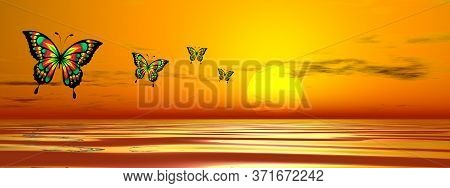 Row Of Butterflies Flying Upon The Ocean To The Sun By Sunset- 3d Render