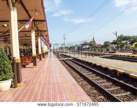 Ayutthaya Train Station Ayutthaya, Thailand -18 October 2018;ayutthaya Train Station Phra Nakhon Si