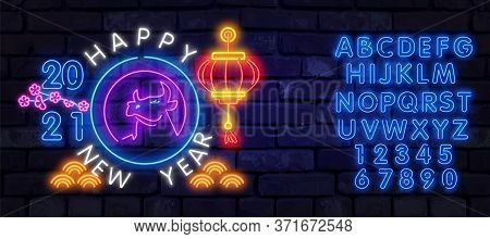 Neon Cow, Ox 2021. Chinese New Year Neon Sign, Bright Signboard, Light Banner. Chinese Logo Ox Neon,
