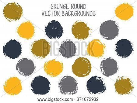 Vector Grey Yellow Grunge Circles. Watercolor Stamp Texture Circle Scratched Label Backgrounds. Circ