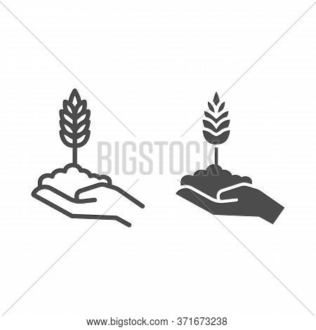 Wheat Spikelet On Human Hand Line And Solid Icon, Agriculture Concept, Grows In Caring Hand Sign On