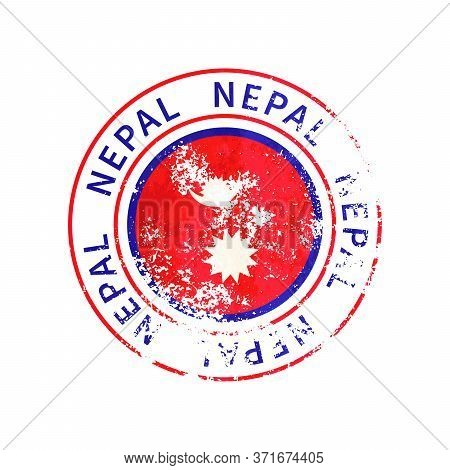 Nepal Sign, Vintage Grunge Imprint With Flag On White