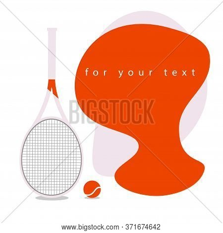 White Tennis Racket With A Bright Place For Text. Tennis Rackets On A White Background Isolated. Con