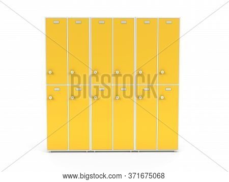 Yellow Lockers With Closed Doors. Two Row Section Of Lockers For Schoool Or Gym. 3d Rendering Illust