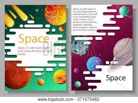 Planets And Satellites. Solar System. Vector Design. Stock Illustration.