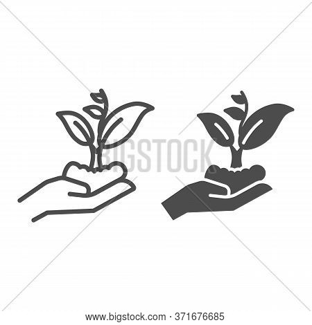 Hand Holding Seedling In Soil Line And Solid Icon, Nature Concept, Hand Carefully Holds Sprout With