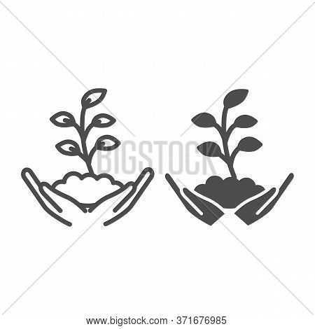 Hand Holds Small Plant With Many Leaves Line And Solid Icon, Ecology Concept, Sprout Growing In Grou