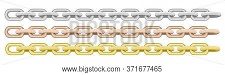 Seamless Chain Borders. Gold And Silver Chains Elements, Vector Golden And Silver Jewellery Endless