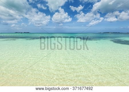 The View Of Goodman's Beach On Nassau, The Bahamas. Summer Vacation Travel Concept.