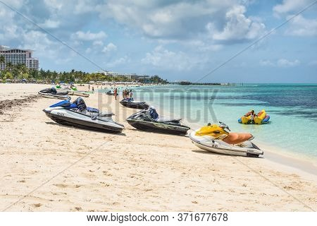 Nassau, Bahamas - May 3, 2019: Jet Skis (water Scooter, Personal Watercraft) On The Goodman's  Beach