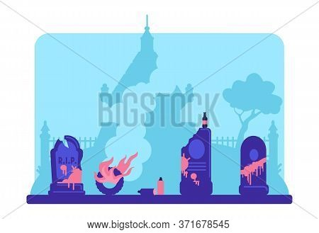 Vandalism Flat Color Vector Illustration. Damaged Tombstones In Paint And Rubbish In Cemetery. Grave